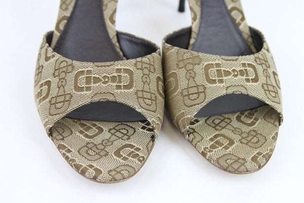 Gucci Sandals Beige Canvas Horsebit - Gucci Women - front view