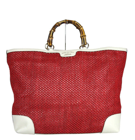 Gucci 338964 Red Straw Bamboo Handle Large Shopper Tote Trim - Final Call