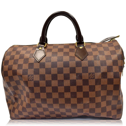 LOUIS VUITTON Speedy 35 Damier Ebene Satchel Bag Brown