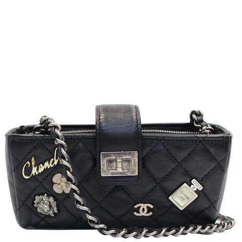 CHANEL Reissue Lucky Charm Quilted Leather Chain Crossbody Clutch Bag Black