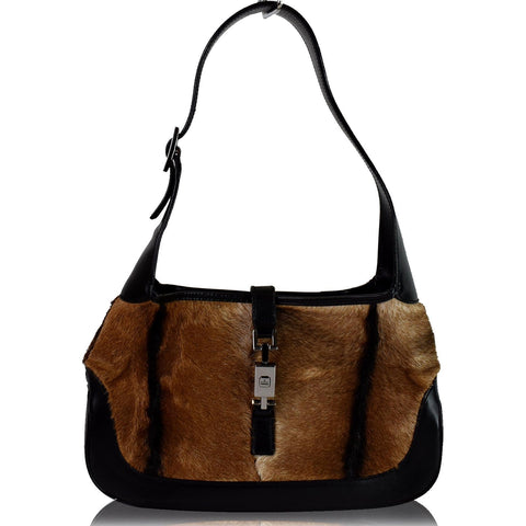 GUCCI Jackie O Pony Hair Leather Hobo Shoulder Bag Brown
