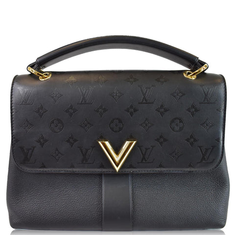 LOUIS VUITTON Very One Handle Monogram Leather Shoulder Bag Black