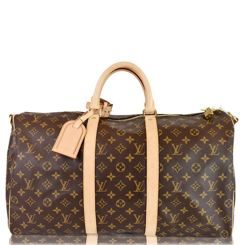 LOUIS VUITTON Keepall 50 Bandouliere Monogram Canvas Travel Bag Brown