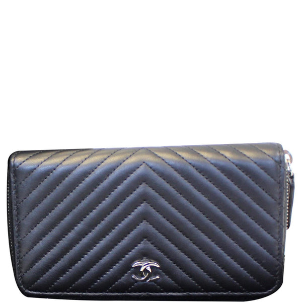 Chanel Wallet Lambskin Chevron Quilted Zip Around Black