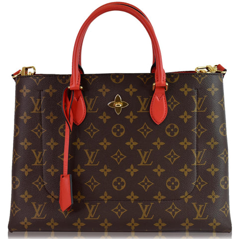 LOUIS VUITTON Flower Monogram Canvas Tote Bag Brown/Red