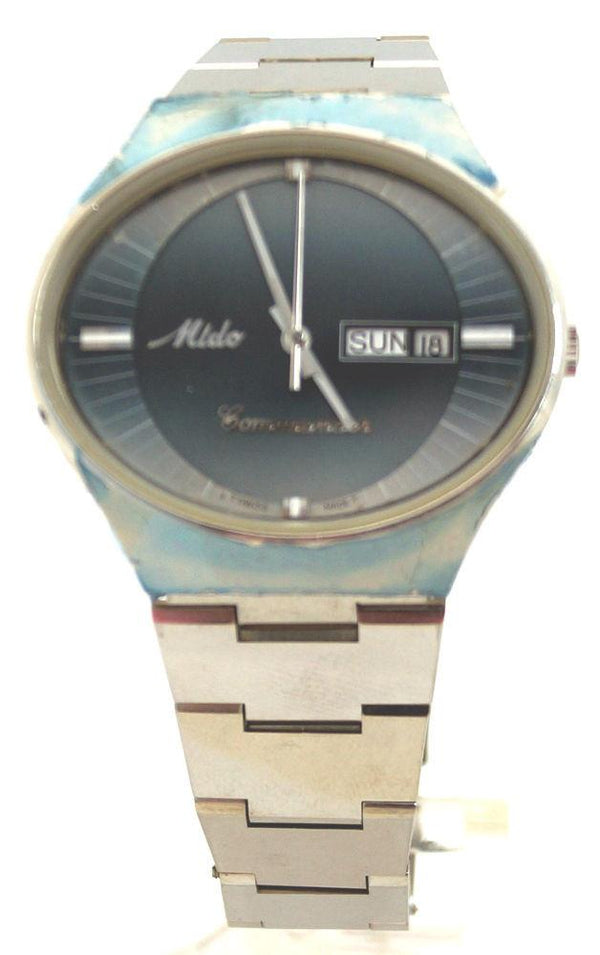 Mido Rare Mens Commander 8689 Automatic Blue SS Day/Date Swiss Watch EX091316-34H