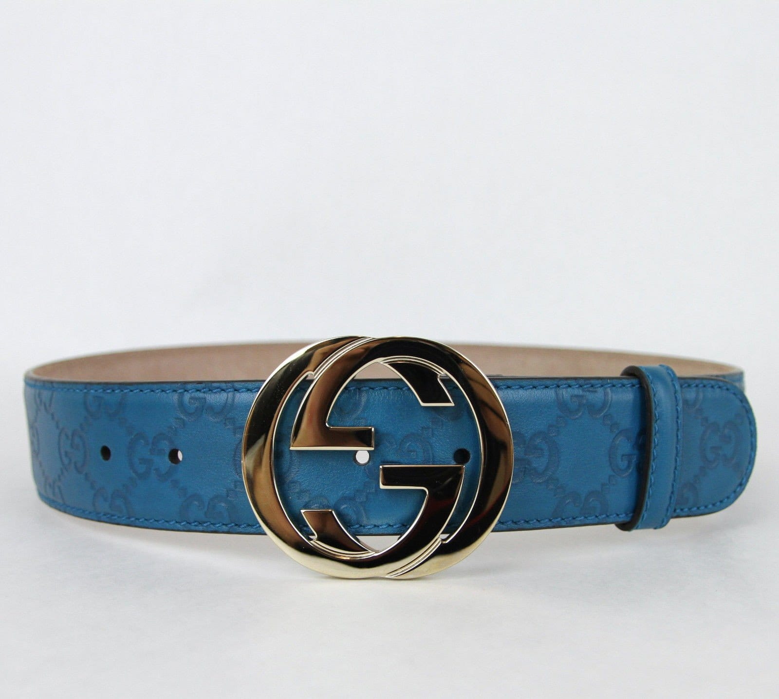 dc6d6b11f28 Gucci Teal Guccissima Leather Interlocking G Buckle Belt 114876 4618 (