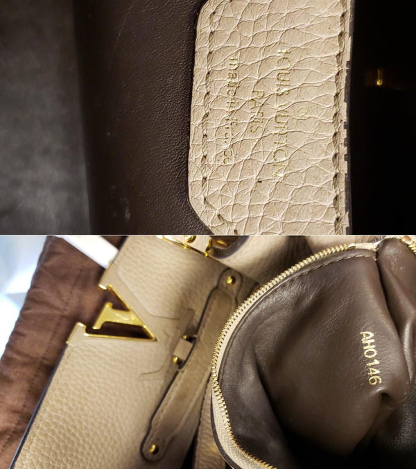 Louis Vuitton Capucines PM Taurillon Leather Shoulder Bag inside view