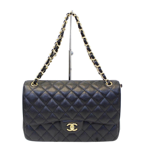 934cc799a3be CHANEL Classic Jumbo Caviar Leather Double Flap Shoulder Bag Black