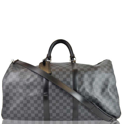 LOUIS VUITTON Keepall Bandouliere 55 Damier Graphite Travel Bag Black