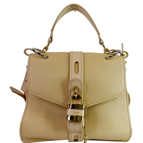 CHLOE Medium Aby Day Grained Leather Shoulder Bag Cream