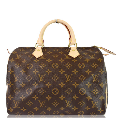 LOUIS VUITTON Speedy 30 Monogram Canvas Satchel Bag Brown