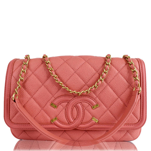 CHANEL CC Filigree Medium Quilted Caviar Leather Shoulder Bag Salmon
