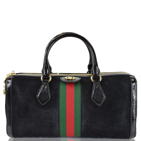 GUCCI Ophidia GG Suede Web Top Handle Shoulder Bag Black 524532