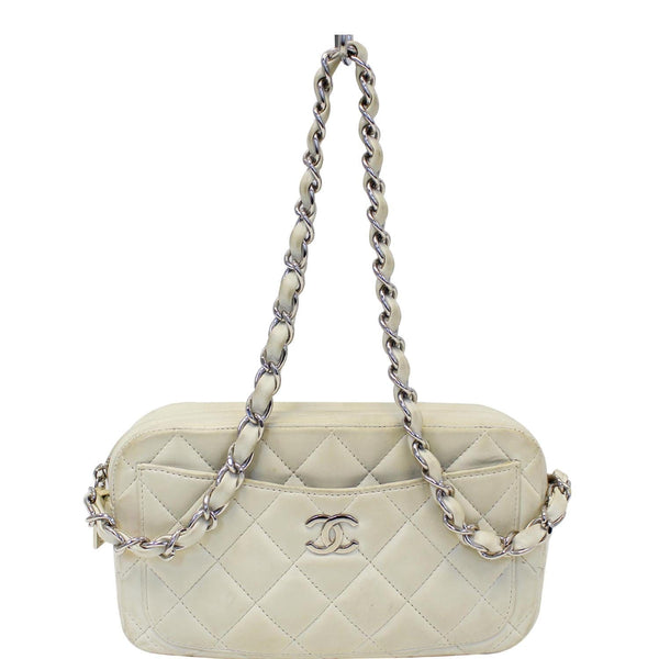 CHANEL Quilted Leather Camera Chain Bag White-US