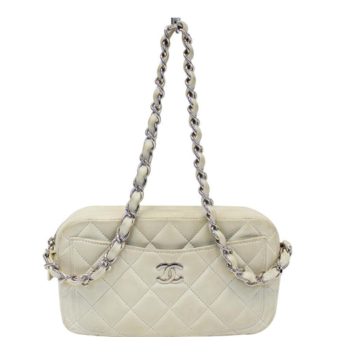 CHANEL Quilted Leather Camera Chain Bag White