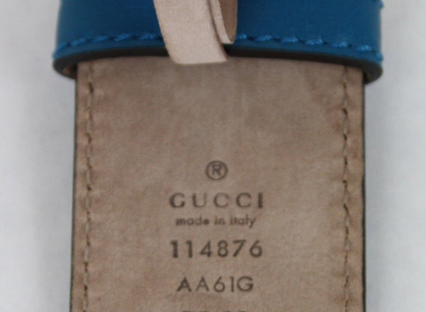 Gucci Teal Guccissima Leather Interlocking G Buckle Belt 114876 4618 (80/32)