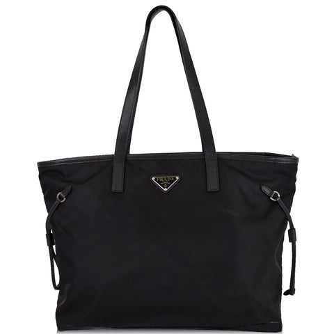 PRADA Vela Side-Cinch Nylon Tote Shoulder Bag Black