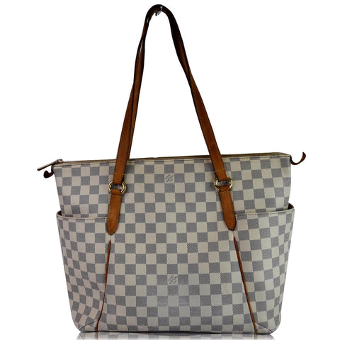 LOUIS VUITTON Totally MM Damier Azur Shoulder Bag White
