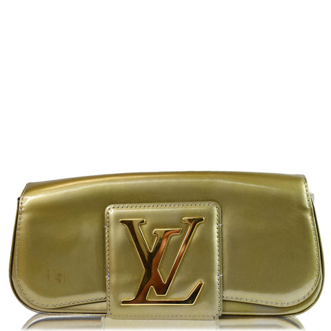 LOUIS VUITTON Sobe Pochette Vernis Leather Clutch Bag Khaki Green
