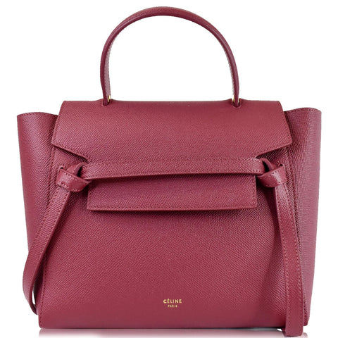 CELINE Micro Belt Grained Calfskin 2Way Shoulder Bag Ruby