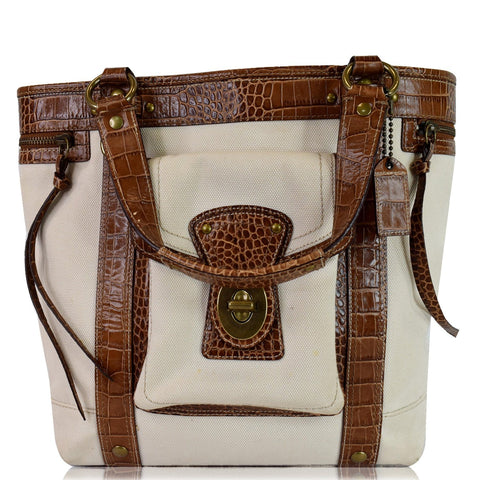 COACH MO669-10648 Canvas Embossed Leather Tote Bag Brown/Ivory