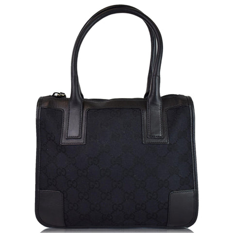 GUCCI Micro GG Top Handle Leather Tote Bag Black 000.0856