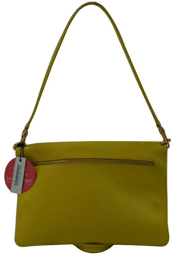 Celine Folded Hippo 3way Yellow White Leather Tote Shoulder Bag