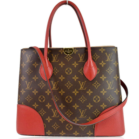 LOUIS VUITTON Flandrin Monogram Canvas Tote Shoulder Bag Red