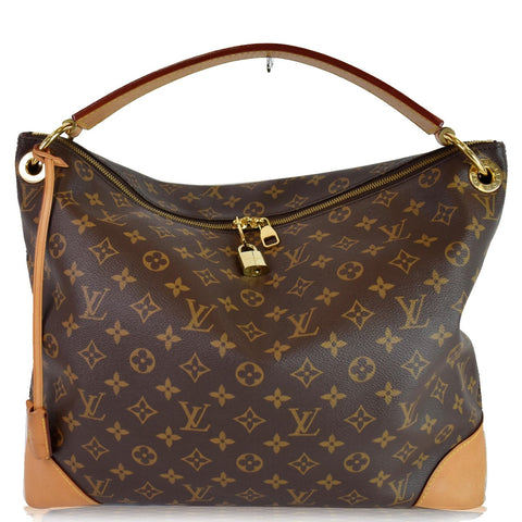 LOUIS VUITTON Berri PM Monogram Canvas Shoulder Bag Brown