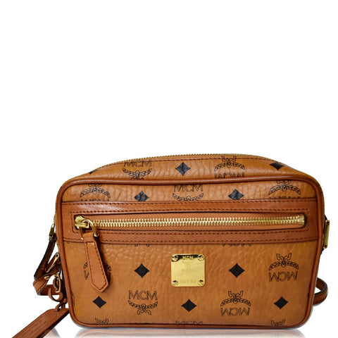 MCM Small Heritage Line Camera Crossbody Bag Cognac