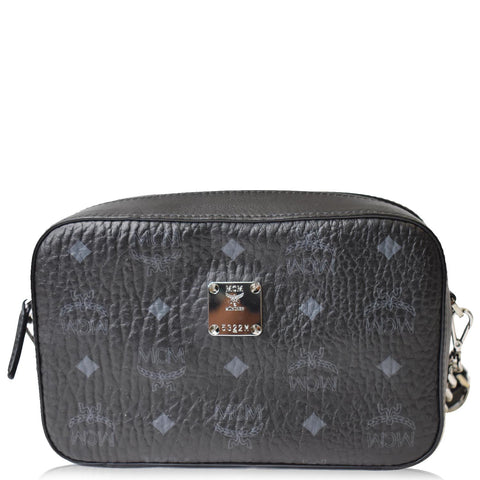 MCM Visetos Camera Monogram Leather Crossbody Bag Black - Daily Deal