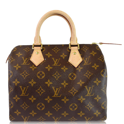 LOUIS VUITTON Speedy 25 Monogram Canvas Shoulder Bag Brown