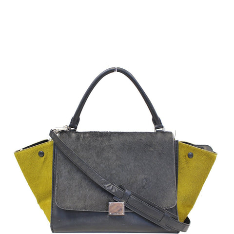 CELINE Gray Pony Hair Small Trapeze Bag - Sale
