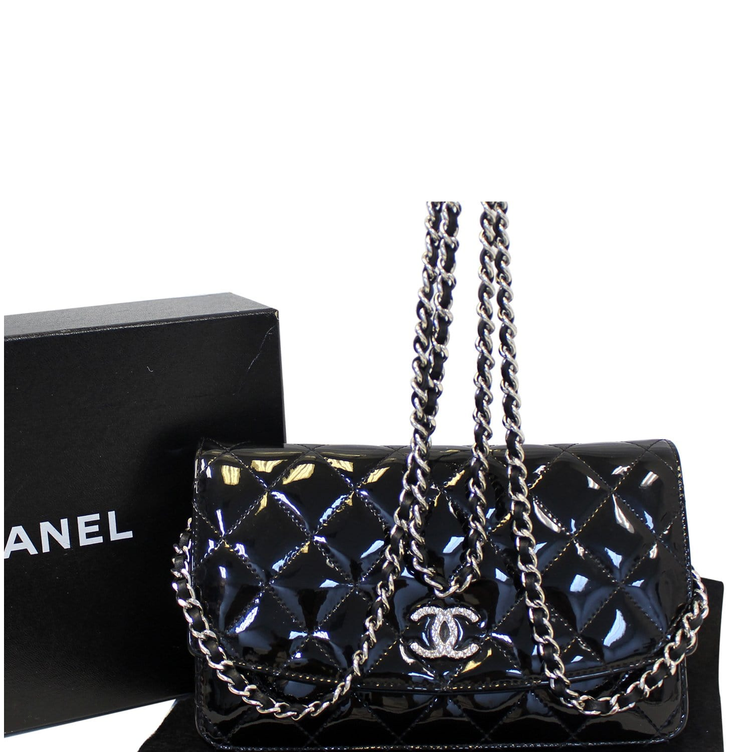 fbcc07176919 CHANEL Wallet On Chain Patent Leather Shoulder Crossbody Bag-US ...