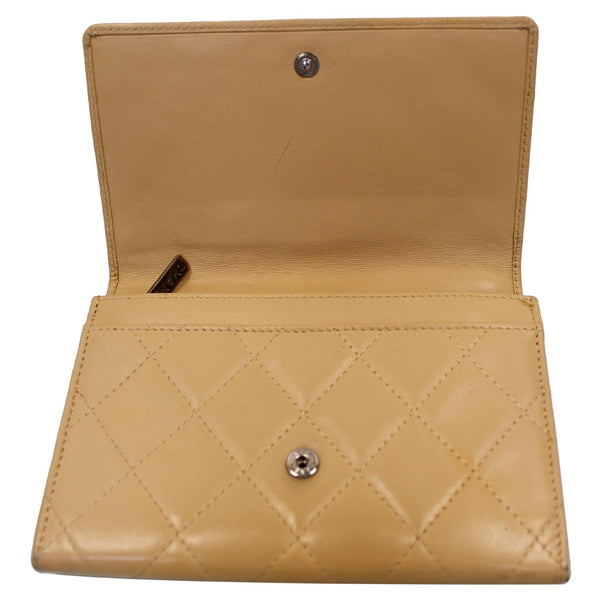 Chanel Cambon Flap Calfskin Quilted Wallet Beige open view