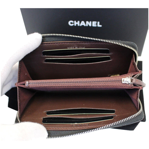 Chanel Wallet Lambskin Chevron Quilted Zip - inside view
