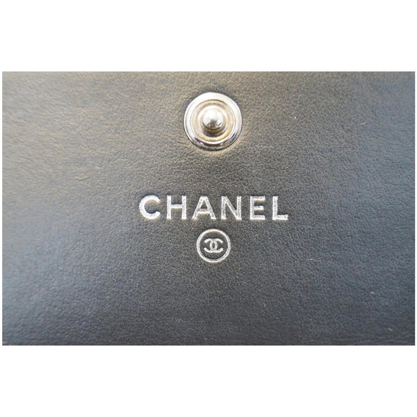 Chanel Boy Large Flap Lambskin Leather Wallet Black with logo