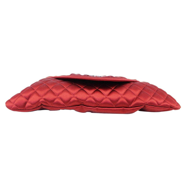 CHANEL CC Half Moon Quilted Satin Clutch Bag Red-US