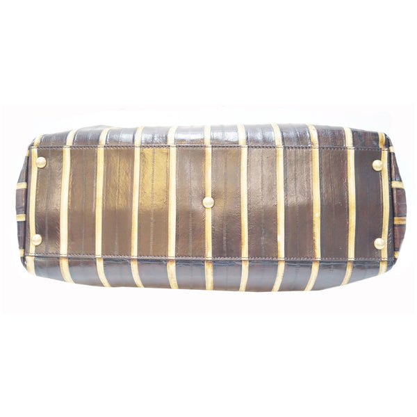 Fendi Peekaboo Striped Eel Skin Leather Bag - bottom view
