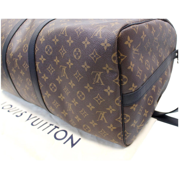 LOUIS VUITTON Keepall Bandouliere 55 Monogram Macassar Travel Bag Brown