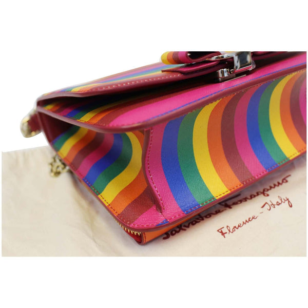 SALVATORE FERRAGAMO Vara Rainbow Leather Crossbody Bag-US