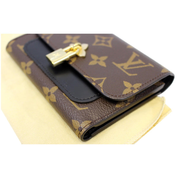 LOUIS VUITTON Flower Lock Monogram Canvas Compact Wallet Black-US