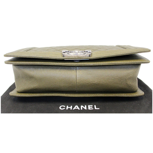 Chanel Boy Medium Flap Caviar Leather Shoulder Bag - front view