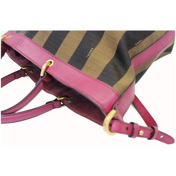 Fendi Tobacco Pequin Stripe Canvas Large - left view