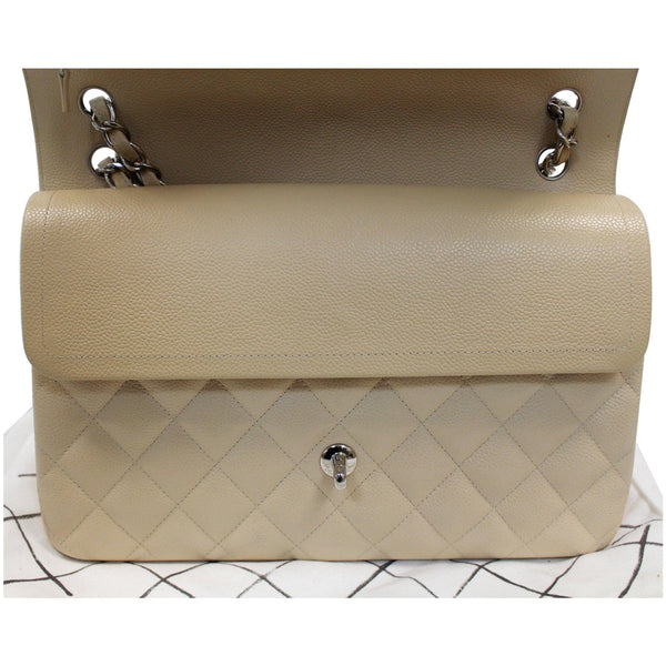 Chanel Jumbo Double Flap Caviar Leather Shoulder Bag Beige open view