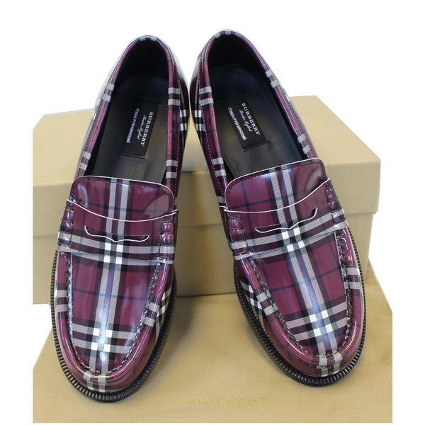 Burberry Check Leather Loafers - Purple