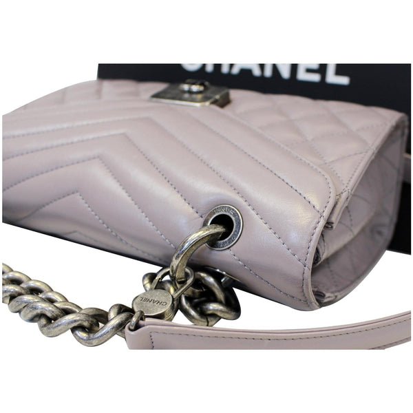 Chanel Flap Bag Quilted Sheepskin with Handle Lilac with chain