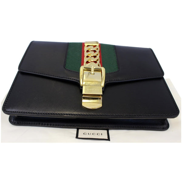 Gucci Belt Sylvie Calfskin Leather Bumbag Black - front view