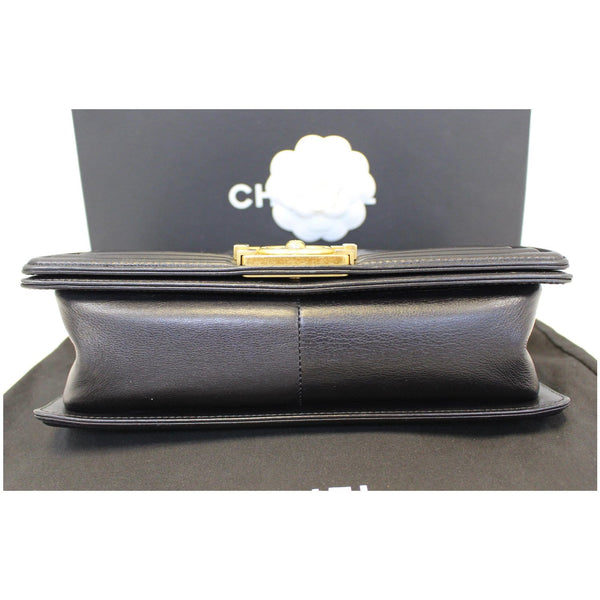 Chanel Le Boy Medium Flap Bag Caviar Leather Black down view